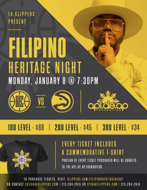 Our brother Apl.de.Ap is performing at the L.A. Clippers halftime show as a part of their Filipino Heritage Night on January 8th.  Get your tickets here
