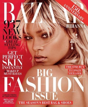 Rihanna covers the 150th anniversary issue of Harper's Bazaar.