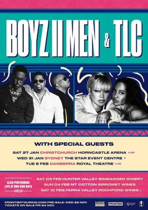 Australia! We R so excited 2 B going on tour with Boyz II Men starting this January! Tickets on sale Fri. Nov 24, more info at https://www.frontiertouring.com/tlc.