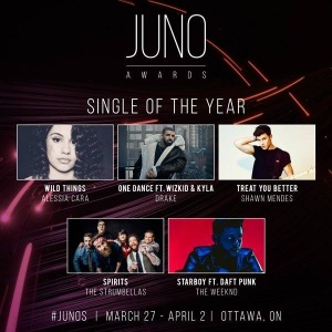 wow 4!!! this is pretty awesome. thank u The JUNO Awards for being so nice to me