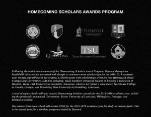Eight Historically Black Colleges & Universities will receive the Homecoming Scholars Award: beyonce.com/article/homecoming-scholars-award-2018-2019-update/