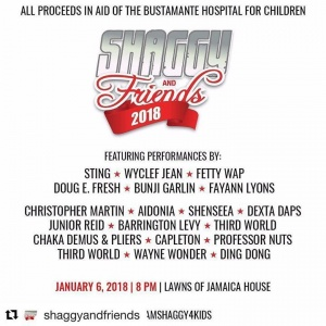 #Repost @shaggyandfriends ・・・ #TeamShaggy4Kids  It's truly amazing to see how many artistes (locally and internationally) can come together on one platform for ONE cause! January 6, 2018... ICU there! ❤️ @direalshaggy  Head to www.caribtix.com for online