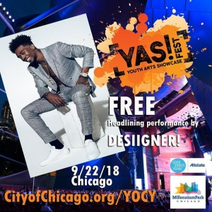 "‪Exciited To Perform @Millennium_Park iin Chicago this Saturday 9/22 For The Annual #YASfest ""Year of Creative Youth!"" Joiin The Largest Gatheriing Of Young Artists iin Chi's Hiistory. Thiis iis a FREE show, just show up!‬"