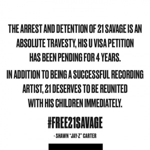 The arrest and detention of 21 Savage is an absolute travesty, his U visa petition has been pending for 4 years. In addition to being a successful recording artist, 21 deserves to be reunited with his children immediately, #Free21Savage