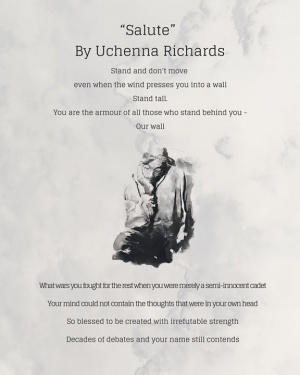 "Congratulations to Uchenna Richards on writing the winning entry in the Tupac Poetry Month Competition titled ""Salute."""