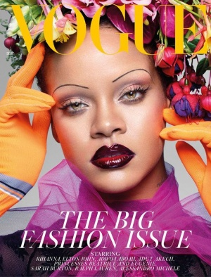 September issue of British Vogue, styled by Edward Enninful and shot by Nick Knight, on newsstands Friday August 3.  Wearing a Prada dress and gloves and Savagexfenty lace body on the cover. Hair by Yusef Williams, make-up by Isamaya Ffrench using FentyBe