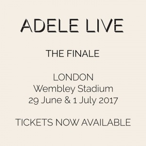 Tickets on sale now for Adele's world tour finale at Wembley Stadium on 29 June and 1 July 2017. Ticket details available from  http://live.adele.com